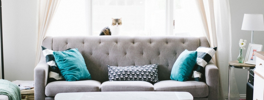 Sofa in open lounge